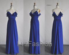 A Line Straps Long Chiffon Royal Blue Bridesmaid by LvsFashion, $139.00