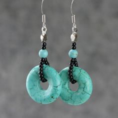 Turquoise hoop earrings handmade ani designs by AnniDesignsllc, $12.95