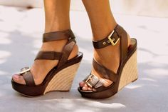 brown thick strappy wedge sandals