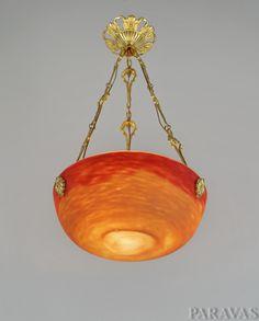 DAUM : French art deco chandelier. A beautiful 1920-1930 hanging fixture with glass paste bowl by Daum. (paravas-ebay)