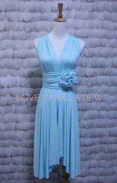 Bridesmaid Dress Infinity Dress Tiffany Blue Knee Length Wrap Convertible Dress Wedding Dress $33.00