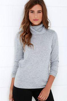 Comin' Up Cozy Grey Turtleneck Sweater