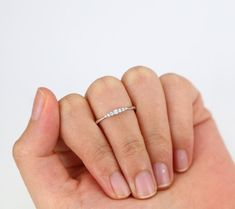 This ring makes a delicate engagement ring. It definitely is for every day wear. Very lite, lovely,dainty and delicate. Wrapped in a beautiful Box ready for gift giving. Ring Info ------------------------------------------- Description ▲ Band Width: 1.3mm ▲ Band Thickness: 1.2mm ▲ Metal :