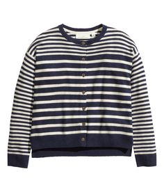 White & navy blue striped fine-knit cardigan with elbow patches & side slits. | Warm in H&M