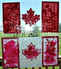 2 Big, 2 Little: Two Stained Glass Canada Flags Canada Day Flag, Canada For Kids, Canada Day Crafts, Crafts To Make, Crafts For Kids, A Day In Paris, Library Themes, Crafts For Seniors, Flag Art