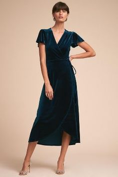 BHLDN Thrive Velvet Dress <br> Lustrous velvet elevates an effortlessly chic wrap dress. We love the flouncy sleeves and ruching at the shoulders. Only available at BHLDN Online exclusive Pictured with Maria Opal Earrings Nice Dresses, Dresses With Sleeves, Formal Dresses, Dresses Dresses, Evening Dresses, Velvet Bridesmaid Dresses, Laura Lee, Groom Dress, Occasion Dresses