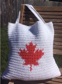 """It seems that crochet tote bags are every where these days! Are you looking for one to show off a little Canadian Pride while out and about this summer? Look no further! I love a handy tote bag! They are great for making a quick trip to the grocery store, or while running errands. They… Continue reading """"Our Canada"""" Tote Bag – A Free Crochet Pattern"""
