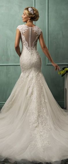 amelia sposa wedding dresses 2014 cap sleeve fit-to-flare gown illusion back #mermaidweddingdress