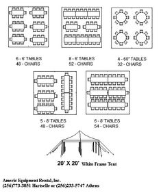 Click a tent size below to view and print suggested seating charts