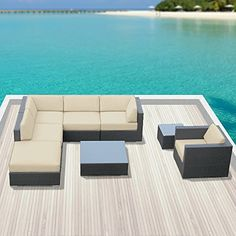 Luxxella Outdoor Sofa Set Beruni 8 Pcs Modern Light Beige Set Furniture All Weather Wicker Sofa Set. The Beruni 8 Patio Set includes 2 corner wicker chairs, 2 middle wicker chairs, 1 arm wicker chair, 1 ottoman, 1 small coffee table, 1 medium coffee table. Curbside delivery with signature required (We have nine different colors available. Check out our other products.). Factory Direct Price (MSRP $4999.00). All Luxxella Collection are exclusively made by Luxxella. 6 inch seat Cushions…
