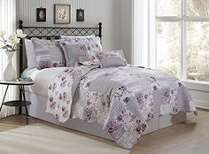 This has some purple and gray, but is still light in color.  Avondale Manor Alana 5 Piece Quilt Set, Queen, Lavender A... https://www.amazon.com/dp/B010M9HXHG/ref=cm_sw_r_pi_dp_3-hFxbQVEJT8G