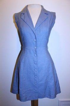 Forever 21 Dress S Medium Wash Denim Button Front Double Lapel Sleeveless Dress #FOREVER21 #Sundress #Casual