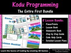 The complete Kodu programming bundle to teach you elementary school students how to create basic 3D games in Kodu software.It can be downloaded from: http://www.microsoft.com/en-us/download/details.aspx?id=10056 This bundle comes complete with 2 monthes worth of teaching material (120 pages) and covers 8 lessons (1 lesson per week). It includes: 1) Unit overview 2) Detailed lesson plans 3) PowerPoint presentations 4) Lesson Booklet 5) Homework Booklet 6) Kodu Programming Instruction cards