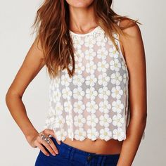 Free People daisy sequin top Free People New Romantics daisy sequins top with Peter Pan embroidery collar and buttoning in the back Free People Tops