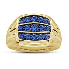 Blue Sapphire Men's Special Wedding Band Ring in 14k Yellow Gold FN 925 Silver…