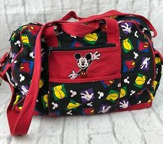 Mickey Unlimited Mickey Mouse Red Black Canvas Travel Duffle Tote Bag | eBay Purses For Sale, Purses And Bags, Large Canvas Tote Bags, Green Shoulder Bags, Tote Backpack, Black Tote, Black Canvas, Bag Sale, Red Black