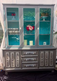 Grey & turquoise hutch by: MONTUCCI DESIGNS