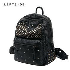 LEFTSIDE 2017 Women Waterproof PU Leather Rivet Backpack Women's Backpacks for Teenage Girls Ladies Bags with Zippers Black Bags