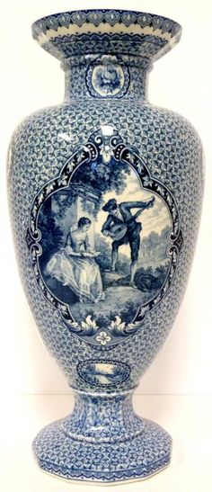 Blue White Porcelain Vase. I love the deep blue framing around the scene in the center and the small pattern surrounding it.