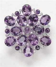An Amethyst and Diamond Brooch Margherita BURGENER Designed as an oval-cut Amethyst cluster, accented by circular-cut Diamonds and Amethyst beads, mounted in white Gold, length 1 inches. Signed 'MB' for Margherita Burgener. Purple Jewelry, Amethyst Jewelry, I Love Jewelry, Modern Jewelry, Jewelry Accessories, Fine Jewelry, Jewellery Box, Jewellery Shops, Crystal Jewelry