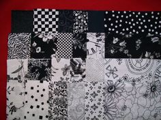 Black and White Fabric Charm Pack Cut 5 x 5 by piecemakerquilts, $6.99