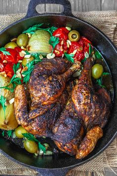 Crispiest Spatchcocked Chicken you'll ever have! A couple simple tricks and a few Eastern Mediterranean spices take roast chicken to a new level!