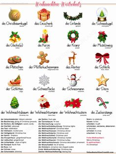 Deutsch-Englisch Christmas vocabulary