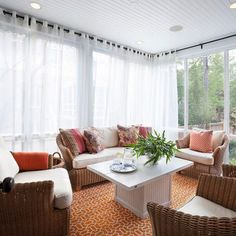 Stunning Sunroom Transitional design ideas for Red And White Curtains For Living Room Decor Ideas Sunroom Curtains, White Curtains, Sunroom Windows, Window Curtains, Bright Curtains, Ceiling Curtains, Porch Ceiling, Sheer Drapes, Outdoor Curtains