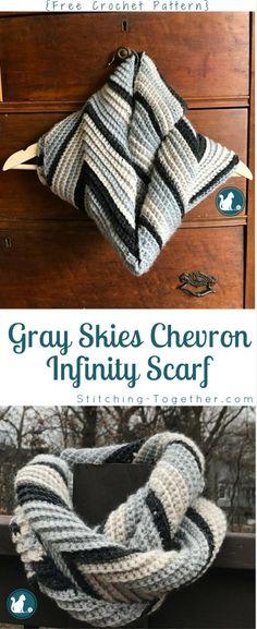 Gray Skies Chevron Infinity Scarf - Free Crochet Pattern