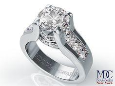 Modern Round Diamond Engagement ring princess diamonds band