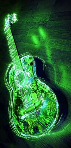 electric guitar green