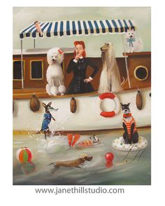 Miss Moon Was A Dog Governess.  Lesson by janethillstudio on Etsy, $26.00 Check this artist out...fun!