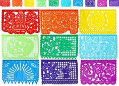 Mexican Papel Picado Tissue Paper Banner (ONE 13-Foot Strand with 10 Cut-Out Designs, Multicolor) - For Fiesta Decorations and Cinco de Mayo Parties | Luna Bazaar