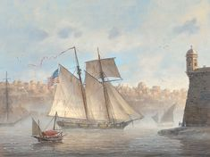 Patrick O'Brien. USS Enterprise at Malta, 1801. Available as a reproduction print at Icon Galeria.