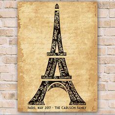 Personalized Eiffel Tower Canvas Eiffel Tower Canvas Print