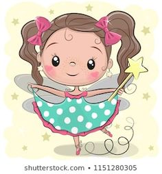 Cute fairy on a yellow background. Cute Cartoon fairy girl on a yellow background stock illustration Cute Cartoon Girl, Cartoon Kids, Baby Cartoon, Cute Images, Cute Pictures, Cartoon Drawings, Cute Drawings, Disney Cartoon Characters, Cute Fairy