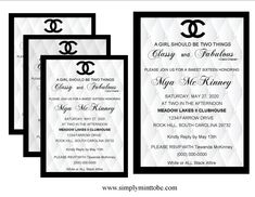 95d6c2b2ad598c Coco Chanel Inspired Classy and Fabulous Sweet 16 Small Leather Graphic  Invitation with Digital Black Background Chanel Logo personalized to your  ...