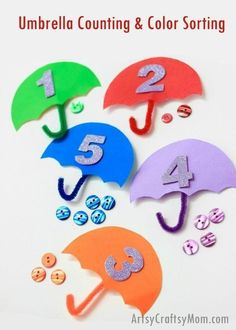 Umbrella Counting & Color Sort - What a brilliant STEM idea for your toddler/preschooler to celebrate Umbrella Day. Use as Letter U craft, Spring craft or even when yu are holed up inside on a rainy day. This simple activity promotes fine-motor skills and