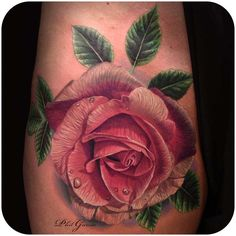pink rose realistic tattoo