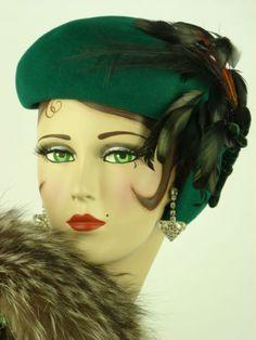 Vintage Hat 1940s Deep Green Asymmetric Felt Beandeau Hat Feathers Orig Hat Pin | eBay