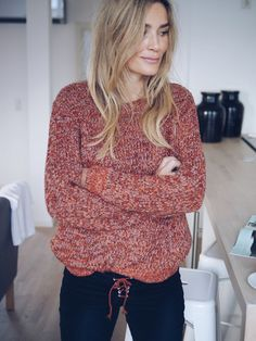 Camilla Pihl - red knitted sweater.