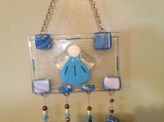 Custom Made Fused Glass Angel  Beaded Sun Catcher