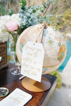 travel themed wedding at Mountain Mermaid, globe guest sign in book
