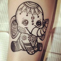 Funny Baby Elephant Tattoo Idea