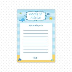INSTANT DOWNLOAD  Under The Sea Baby Shower Advice by pinkthecat, $5.00