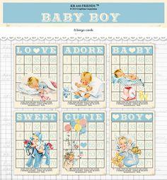Digital Vintage Style Baby Boy Bingo Cards/ blue by KBandFriends