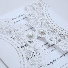 Vintage Style Lasercut White Lace Doily Invitation
