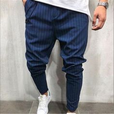 2018 New Fashion Thin Section Pants Men Casual Slim Stripe Trouser Jog – eticdress Bodybuilding Workouts, Men Pants, New Fashion, Fashion Models, Jogging, Shirt Style, Trousers, Men Casual, Outfits