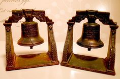 Vintage Book Ends Cast Iron Liberty Bell Made by Verona. from VintageOnTheRidge, $18.00