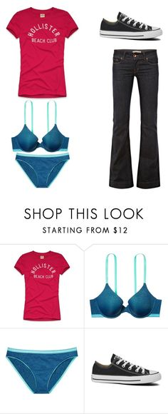 """""""Untitled 5240"""" by rosamariagonzales ❤ liked on Polyvore featuring Hollister Co., Victoria's Secret, Converse and J Brand"""